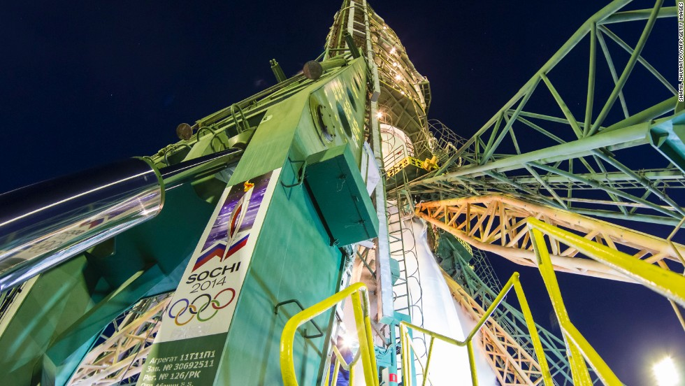 A view of the Soyuz rocket, which is emblazoned with the Olympic logo and Sochi 2014 livery.