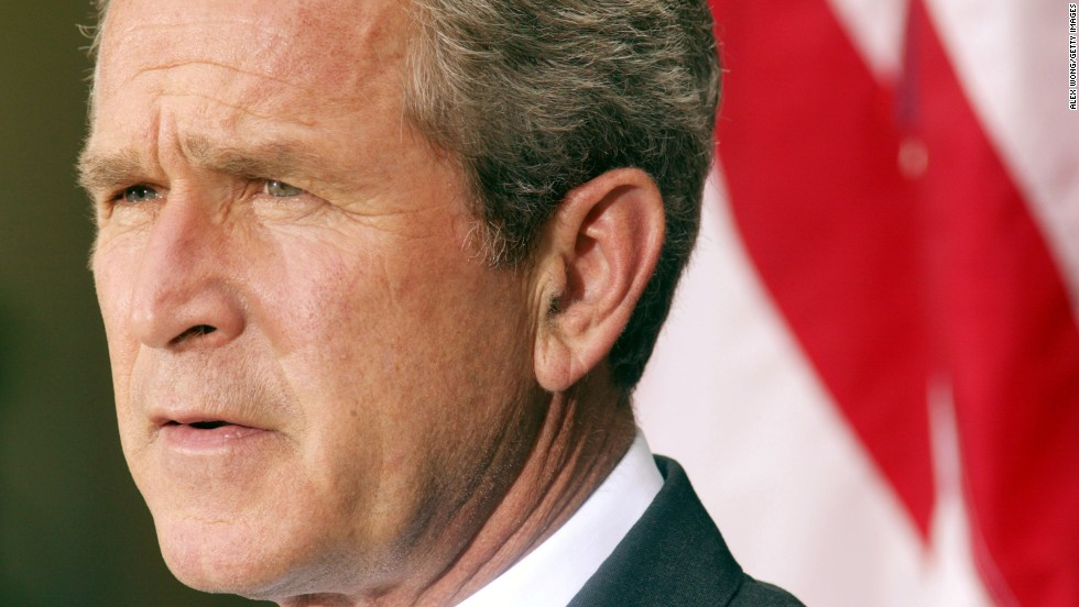 U.S. President George W. Bush announces his plan for peace in the Middle East on June 24, 2002. He called for Arafat's removal from power and the creation of a Palestinian state.