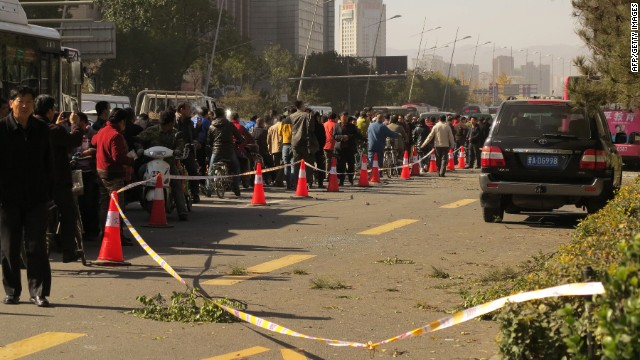 Police cordon off the street outside the provincial Communist Party headquarters in Taiyuan after the blasts on Nov. 6.