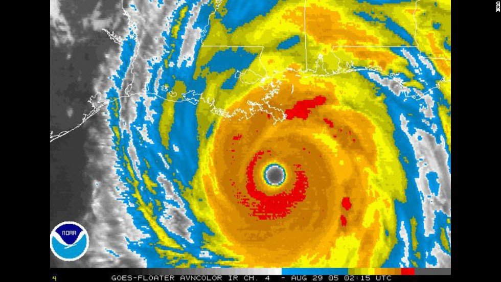 Hurricane Katrina, a Category 3 storm, formed on August 25, 2005 and dissipated on August 29. The hurricane hit Florida as a Category 1 and then Louisiana as a Category 3. Its path also included Alabama and Mississippi. It caused $108 billion in damages and more than 1,723 deaths.