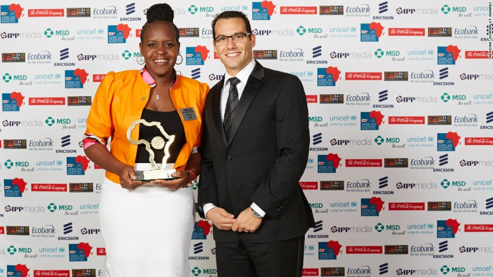 Brenda Okoth (left), of The Star in Kenya is pictured with Michael Azrak, Managing Director MSD South Africa, who presented her with the MSD Health and Medical Award.
