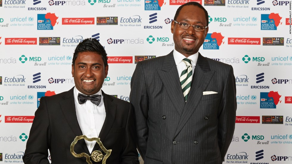 Axcel Micael Chenney (left), from Mauritius won the Francophone General News (Electronic Media) Award.