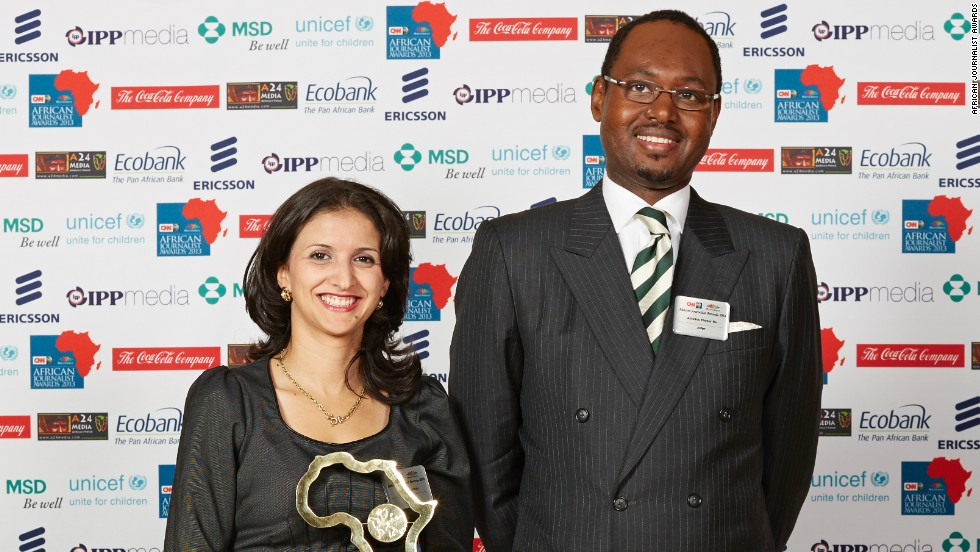 "Nassima Oulebsir (left) won the Francophone General News (Print) Award for her piece ""Enfants nés au maquis cherchent identité."""