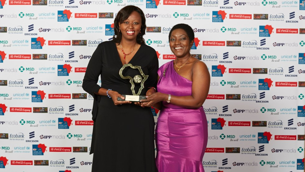 Roseline Wangui (left) and Wambui Kurema were joint winners of the Television Features Award. Joyce Mhaville, ITV Tanzania (right) presented this award at the ceremony.