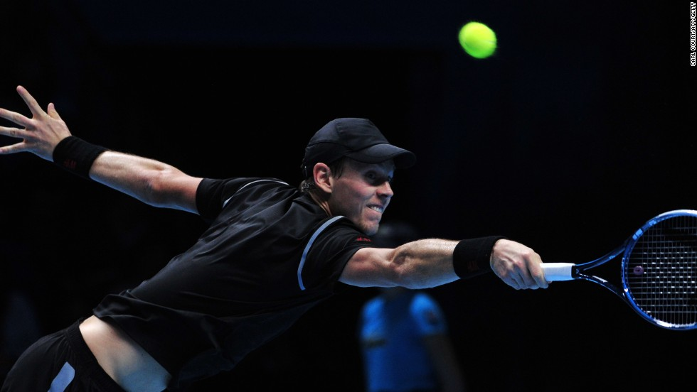 Czech star Berdych at full stretch during his three set defeat to Rafael Nadal at the ATP World Tour Finals.