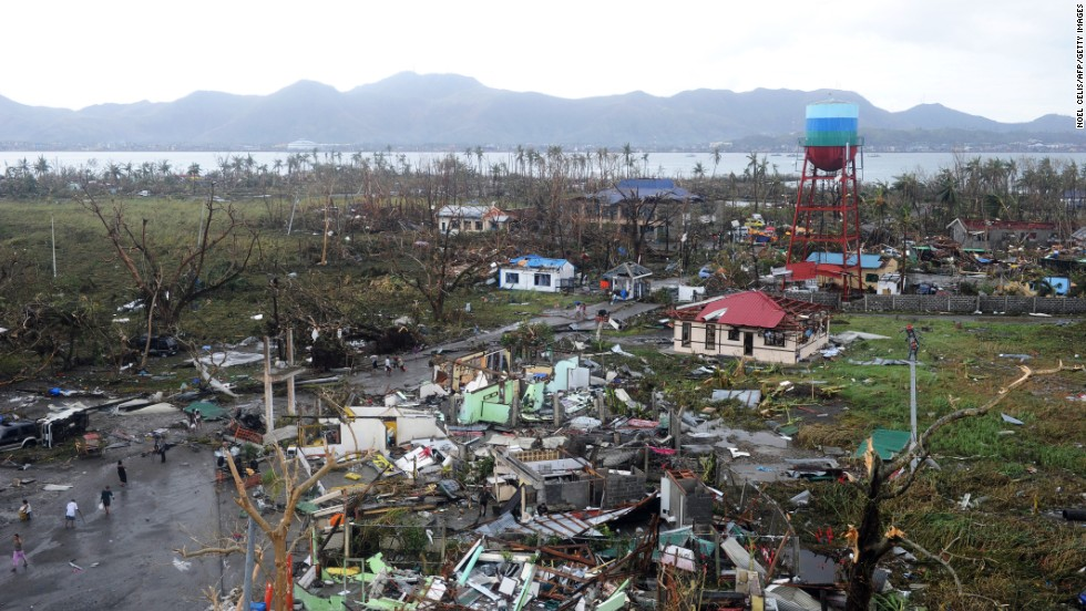 Tacloban houses are destroyed by the strong winds caused by the typhoon.