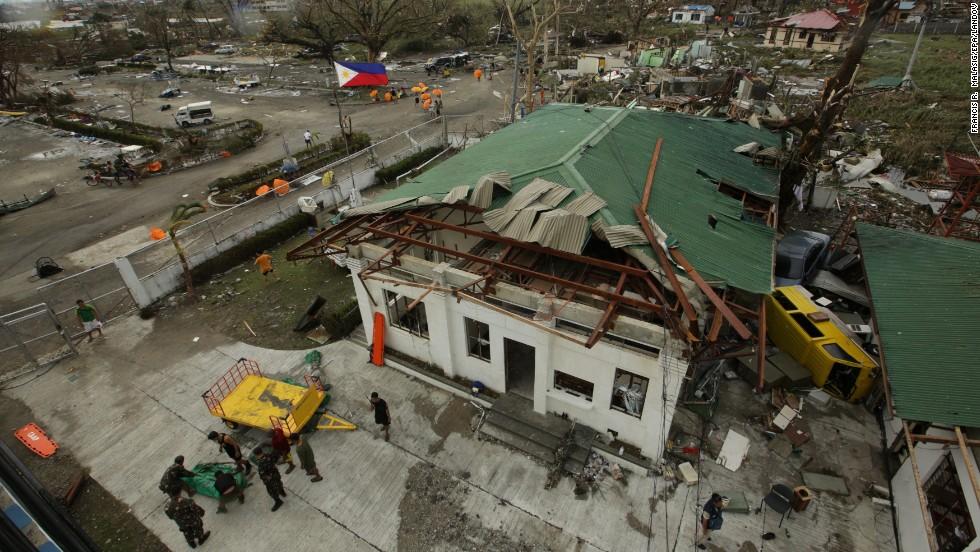 An airport lies in ruins in Tacloban.