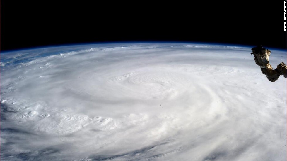 Astronaut Karen L. Nyberg took a picture of the typhoon from the International Space Station on November 9.