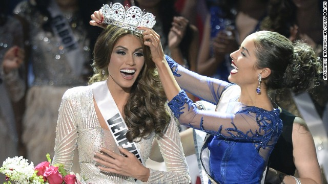 Miss Venezuela Gabriela Isler, left, is crowned Miss Universe in Moscow, on Saturday, November 9. Isler, 25, is a Venezuelan television presenter. Judges including rock star Steven Tyler, picked the winner from a total of 86 contestants at the conmpetition.