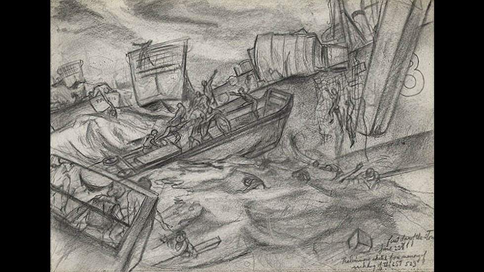 An artist's drawing of the rescue of LST 523, on Merriott served.