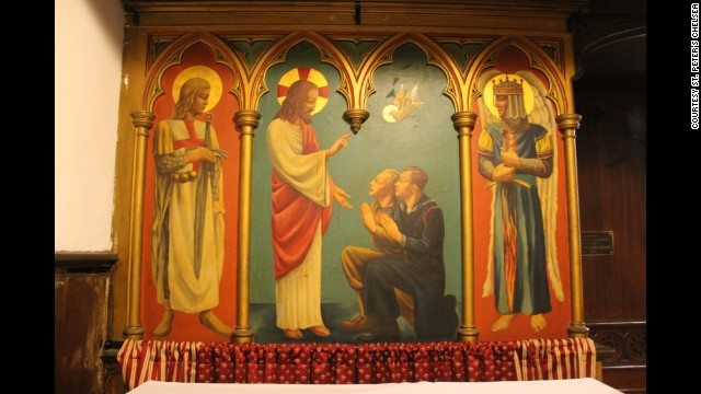 "Uncovered painting titled, ""Our Lord Blessing a Soldier and a Sailor"" at St. Peter's Chelsea."