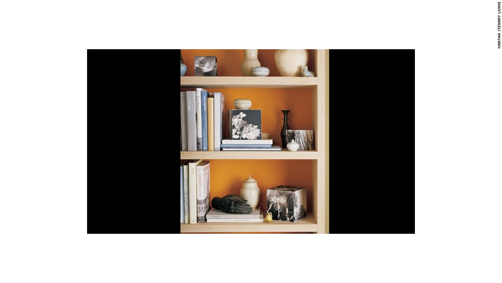 Paint the backs of bookcases in vibrant colors or just line them with<br />colored paper.<br />