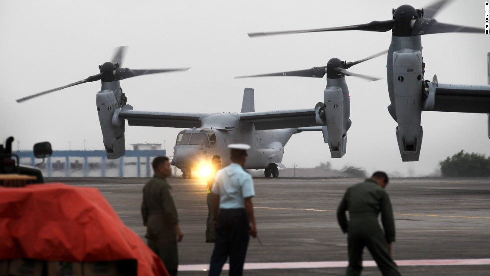 U.S. Marine Corps aircraft arrive at Villamor Airbase in Manila, Philippines, to deliver humanitarian aid to victims of Typhoon Haiyan on Monday, November 11.