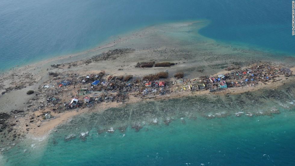 Buildings lie in ruins on Eastern Samar's Victory Island.