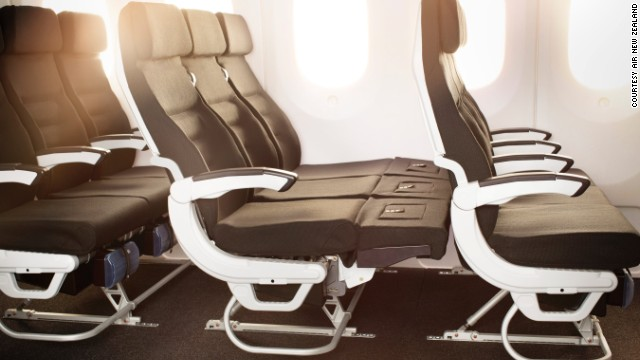 "The ""Skycouch,"" unique to Air New Zealand, where three seats join up to create a couch."