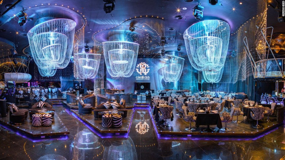 The Cavalli Club in Dubai was created by the fashion house's namesake offering contemporary Italian cuisine and swish cocktails amid a stylish setting.