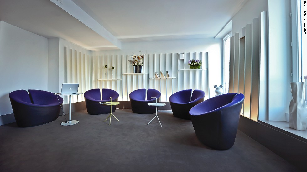Touches of indigo, which the owners say is a major element of romantic literature, are sprinkled throughout this Parisian hotel.