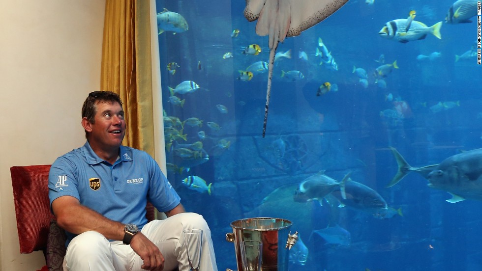 England's Lee Westwood won the contest, sending a seven iron four feet from the target 235 yards away. His prize was a five night stay at one of the hotel's underwater suites, complete with his own aquarium full of 65,000 fishy inhabitants.
