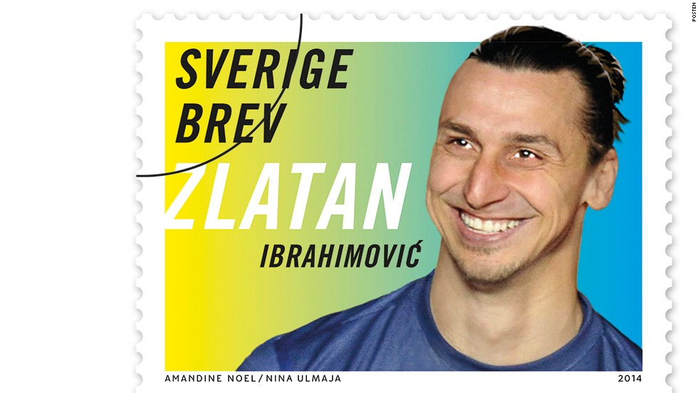 The Swedish Postal Service honored the country's finest footballer with a range of his own stamps, released in 2014.