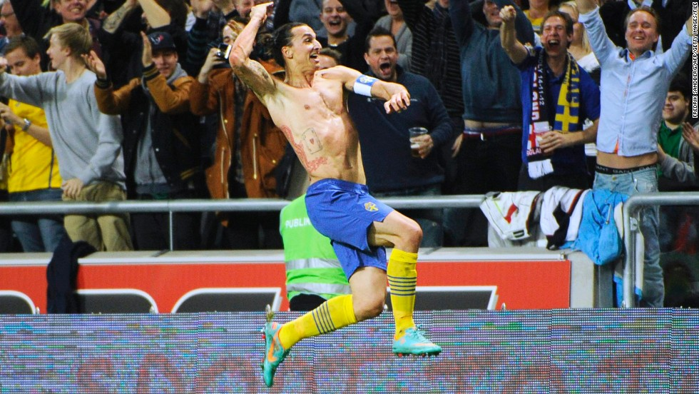 Arguably the finest goal of Ibrahimovic's career arrived in Sweden's 4-2 win over England in 2013. From 30 yards out, he performed a spectacular bicycle kick, which looped over goalkeeper Joe Hart and was subsequently named goal of the year.