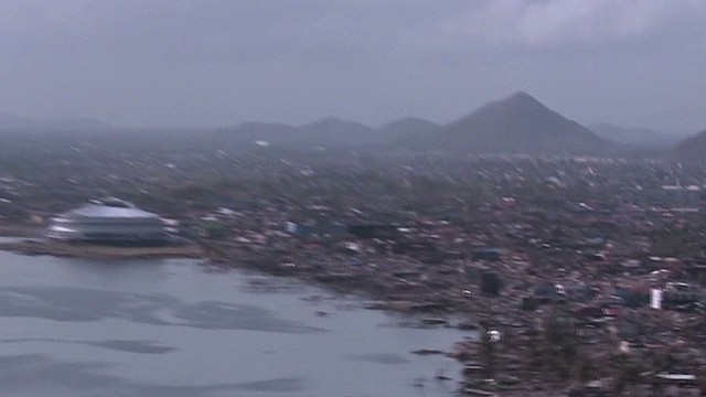 Typhoon damage from the air