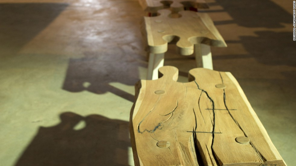 """'""""Puzzle Bench"""" by Pierre Cronje, displayed at MOAD on October 24."""