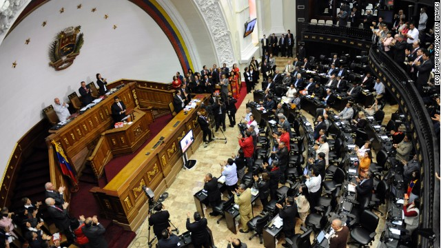 General view of the Venezuelan National Assembly as Venezuelan Vice-President Nicolas Maduro delivers a speech in Caracas on February 28, 2013. AFP PHOTO/Leo RAMIREZ (Photo credit should read LEO RAMIREZ/AFP/Getty Images)