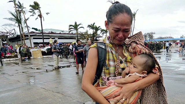 Babies struggling in typhoon's aftermath