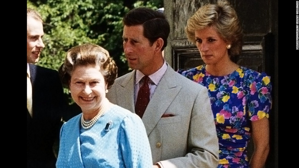 The Queen is followed by her sons, Prince Edward (left) and Prince Charles, with Diana close behind, outside the Clarence House In London in 1989. The estate is the former home of the Queen Mother, Charles' grandmother.