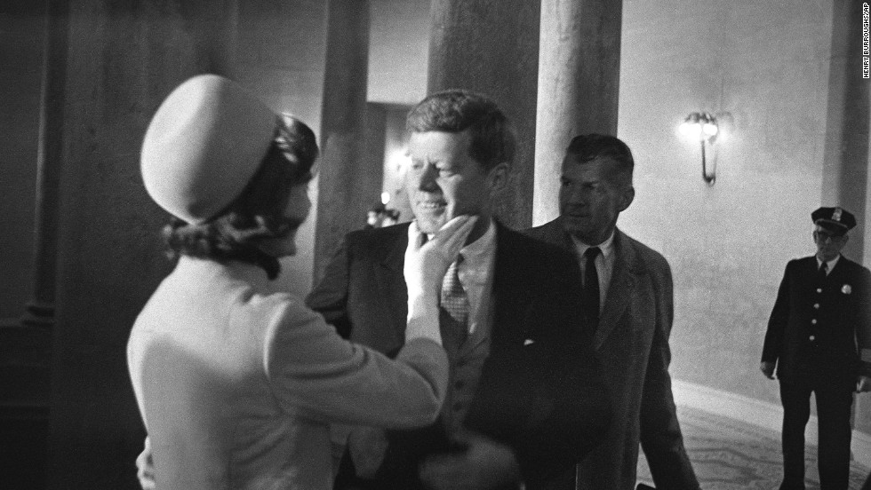 Jackie shares a moment with her husband before he became president, in January 20, 1961, in the rotunda of the Capitol. She became the youngest first lady in nearly 80 years.