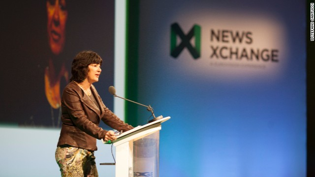 CNN's Christiane Amanpour addresses the audience at NewsXchange in Morocco.