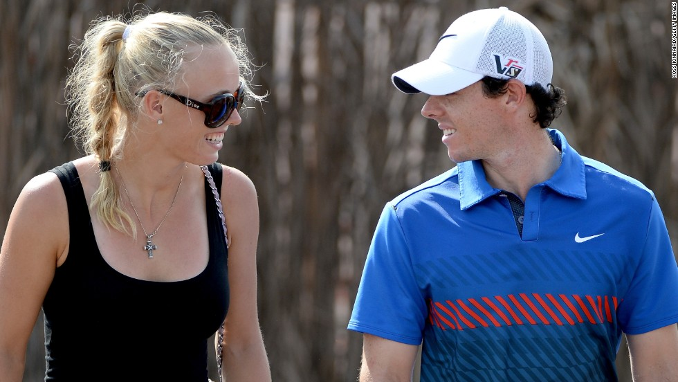 "Despite rumors the pair had split, two-time major winner Rory McIlroy and former tennis World No. 1 Caroline Wozniacki were pictured together at the Dubai World Tour Championship. ""It was nice,"" McIlroy was quoted as saying by The Guardian newspaper of Wozniacki's arrival. ""She started her preseason a couple of days ago and was on court this morning at seven o'clock. It's good to have her here."""
