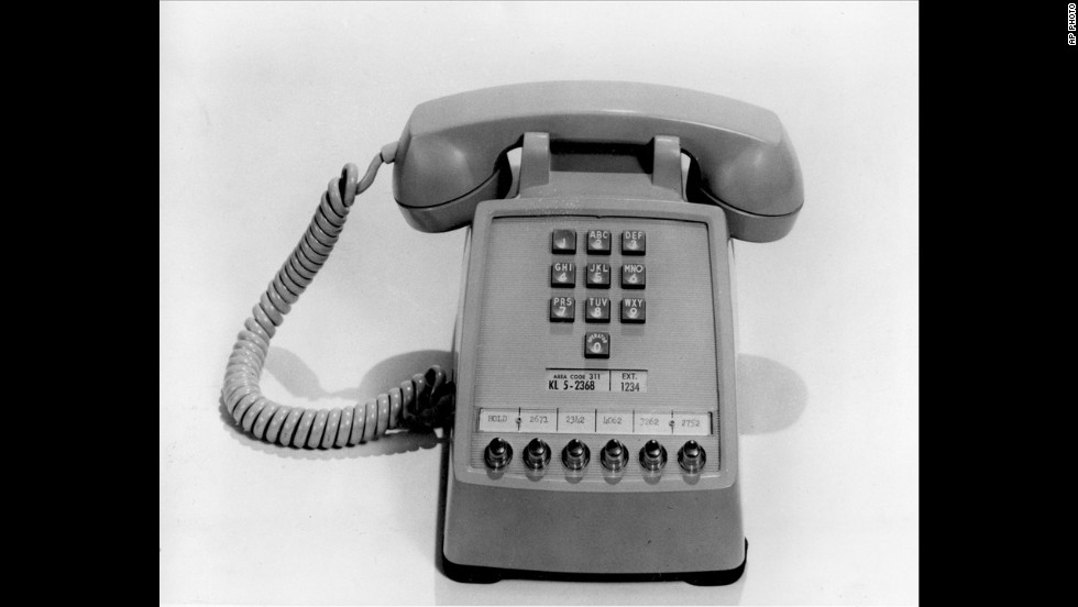 The first push-button telephone was introduced on February 28, 1963. It was  made available to AT&T customers on November 18, 1963. The phone has extension buttons at the bottom for office use.