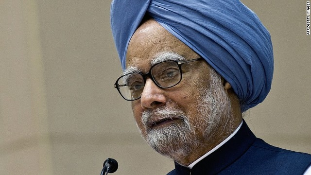 Indian Prime Minister Manmohan Singh delivers his speech during a meeting of Indian chief ministers on internal security, in New Delhi on April 16, 2012.