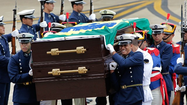 The remains of Brazil's ousted President Joao Goulart arrive to Brazil, Thursday, November 14.