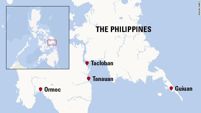Towns, cities hit by Haiyan
