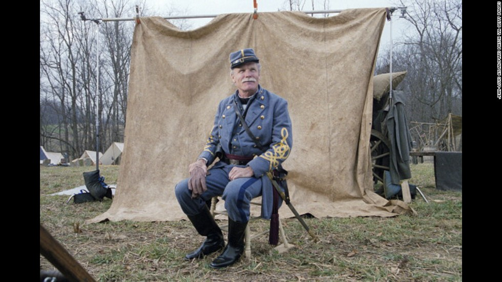 "Turner waits for his cameo in the 2003 film ""Gods and Generals."" He also financed the film, which was set during the Civil War."