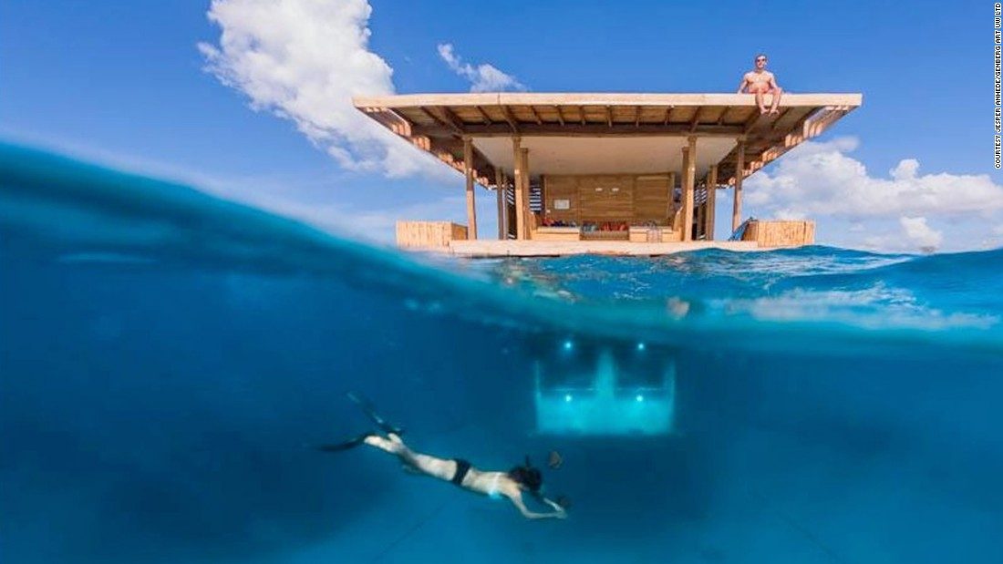 <strong>Bedroom in the sea: </strong>The Manta Resort on Pemba Island, off Tanzania, offers guests the chance to stay in a Swedish-designed underwater bedroom.