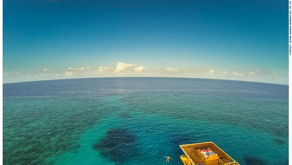 "<strong>The Blue Hole: </strong>The room floats above The Blue Hole, which resort representatives say is an anomaly in the coral reef -- ""A perfectly protected spot"" that's a circular hole inhabited by large coral heads and vibrant marine life."