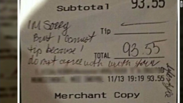 Waitress denied tip for 'gay lifestyle'