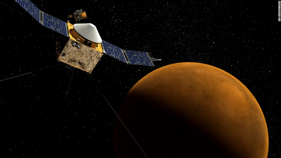 A new NASA spacecraft called MAVEN, short for Mars Atmosphere and Volatile Evolution, will help scientists figure out what happened to the red planet's atmosphere. Its elliptical orbit will allow it to pass through and sample the entire upper atmosphere of Mars. This drawing shows MAVEN orbiting Mars.