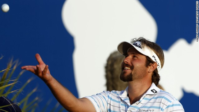 Victor Dubuisson signs off after completing his stunning round of 64 to move into second place at the World Tour Championship in Dubai.