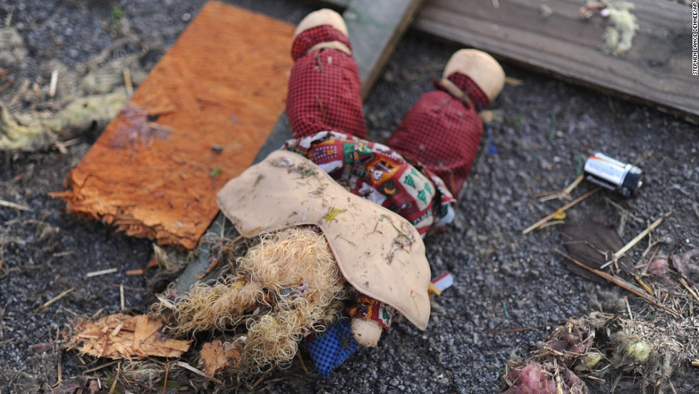 A stuffed animal lies in the road in Brookport, Illinois, on November 17.