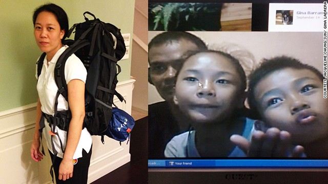 Gina Ladrera (left) before she set out from Hong Kong and the family she was so desperate to find.