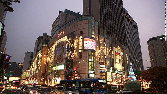 Lotte Department Store in the Myeongdong district is one of Seoul's most insanely popular shopping centers.