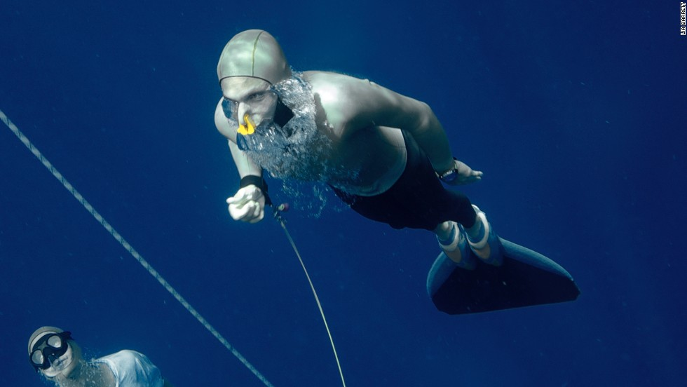 In May, Mevoli became the first American man to dive down to 100 meters with a single breath -- an achievement which brought him a third national record.