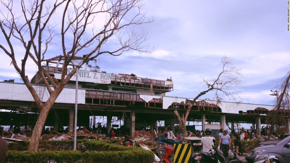 "Photo of Tacloban's airport days after the typhoon ripped through it. ""There was destruction as far as the eye could see,"" said CNN's  Armie Jarin-Bennett."