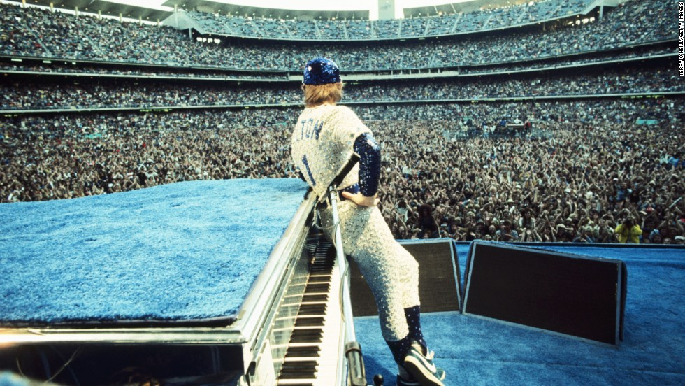 John looks out at the crowd at Dodger Stadium in Los Angeles in 1975.