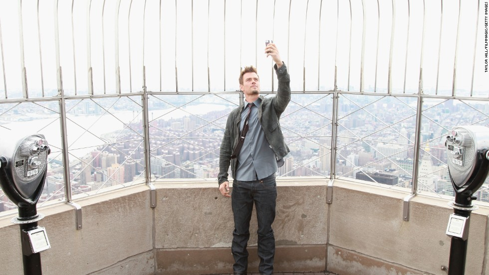 Actor Josh Duhamel takes a selfie at the Empire State Building in New York City.