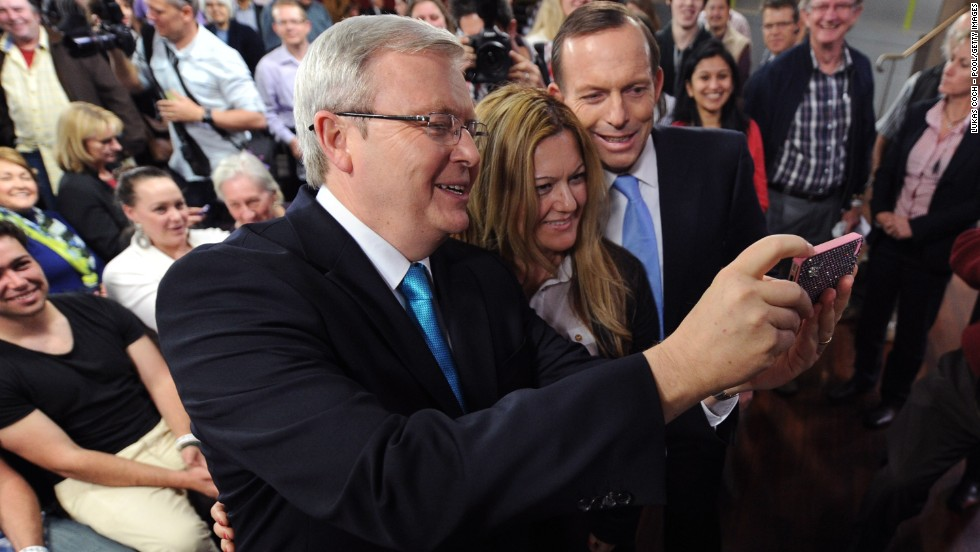 After the Sky News People's Forum in August, then-Australian Prime Minister Kevin Rudd, left, and opposition leader Tony Abbott took a selfie with Nada Makdessi in Sydney. Abbott became prime minister in September.